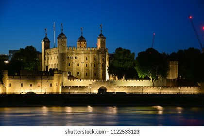 The Tower of London, seen from the River Thames, in the evening