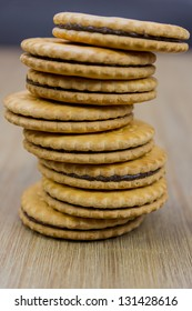 tower made out of chocolate cream cookies