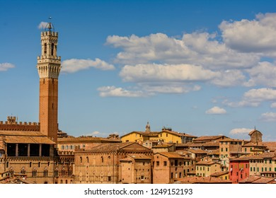the tower of Mangia in Piazza del Campo in Siena, Toscany, Italy