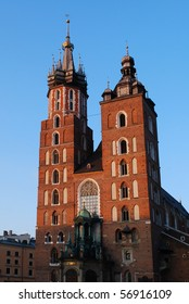 The tower of Mariacki Church in Cracow, Poland