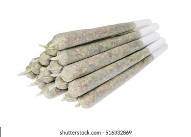 Tower of marijuana joints isolated on white background
