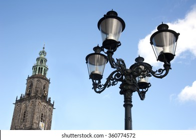 Tower of the Martini church with lantern in Groningen the Netherlands