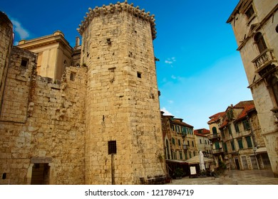 Tower and medieval city walls of Trogir, Croatia