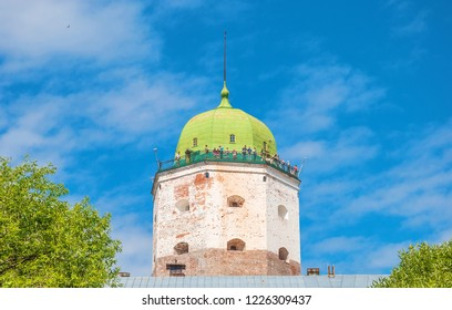 Tower of the medieval fortress in the ancient city of Vyborg. Russia, Vyborg. July 3, 2013