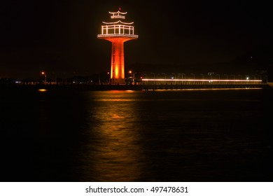 The tower in the middle of the ocean at night, Thailand.