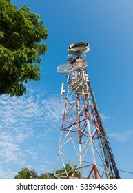 tower mobile phone with blue sky, technology and communication concept