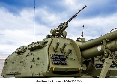 The tower of a modern self-propelled howitzer with ulimet and active protection against fire attack.