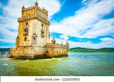 Belém Tower at the mouth of Tagus river, Belém, Lisbon, Portugal. UNESCO World Heritage Site.