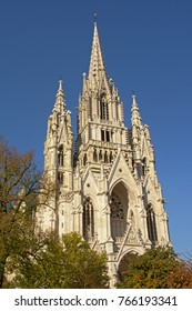 Tower of Neo-gothic roman catholic church of Our Lady of Laeken or `Notre-Dame de Laeken`, designed by architect  Joseph Poelaert, Brussels, Belgium
