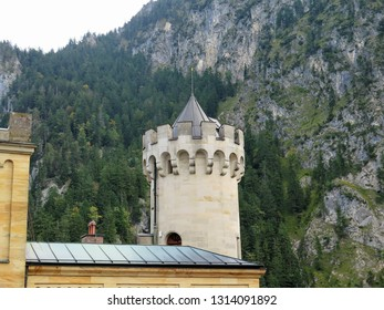 Tower at the Neuschwanstein Castle, the 19th century Romanesque Revival palace built for King Ludwig II