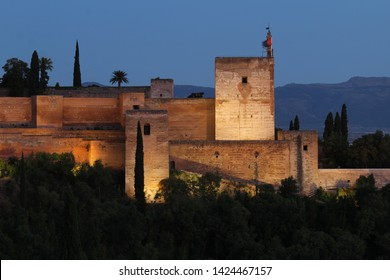 Tower at night of Alhambra Granada