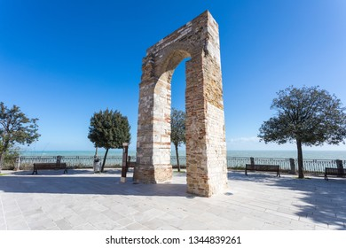 The Tower of Numana Sirolo, Ancona Mount Conero Marche Italy - Beautiful tiny pearl of the Adriatic Sea with panoramic terrace over the sea.