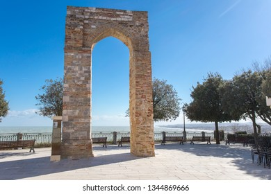 The Tower of Numana Sirolo, Ancona Mount Conero Marche Italy - beautiful tiny pearl of the Adriatic Sea with panoramic terrace over the sea and bricks arc.