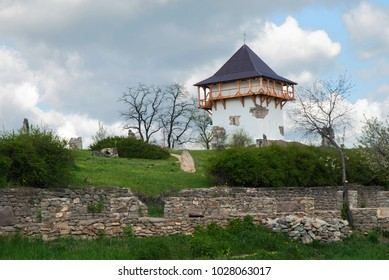 Tower of  old castle in Busha, Vinnytsia region in Ukraine. Horizontal outdoors shot.