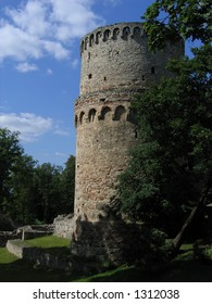 Tower of old castle in Cesis, Latvia