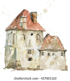 Tower of old fortress. Ancient fort. Old castle watercolor painted. Angular square tower. Fortress. Watercolor hand drawn illustration on white background.