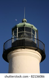 Tower of the Old Point Loma Lighthouse. Daytime moon here too.