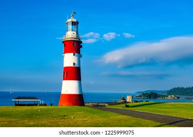 Smeaton´s Tower on the Hoe at Plymouth, Devon, UK. The tower was formerly sited on the Eddystone, 14 miles SW of Plymouth.