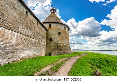 Tower of Oreshek fortress is an ancient Russian fortress. Shlisselburg Fortress near the St. Petersburg, Russia. Founded in 1323