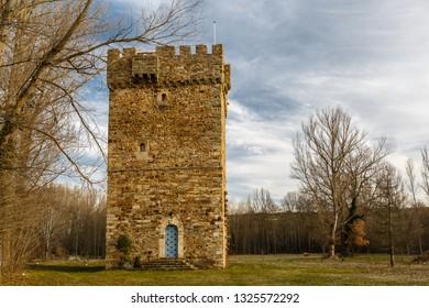 Tower of the Osorio. Turienzo de los Caballeros, Leon, Spain.