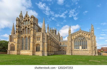The tower and other architectural details at Ely Cathedral, Cambridgeshire, England.