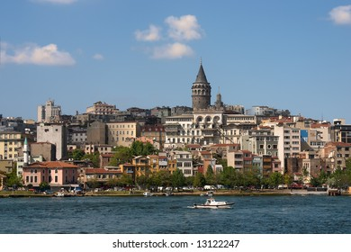 Tower over city view Istanbul with blue river