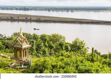 A tower overlooks the Mekong River at Wat Hanchey Buddhist monastery, near Kampong Cham