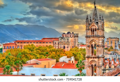 Tower of Palermo Cathedral and Palazzo dei Normanni at sunset. A UNESCO heritage site in Sicily, Italy