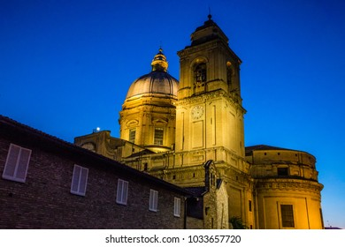 Tower Of Papal Basilica of Saint Mary of the Angels in Assisi At Night - Assisi, Province of Perugia, Umbria Region, Italy, Europe