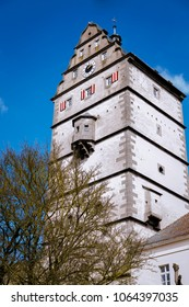 A tower as a part of a town wall. Recorded in Germany, Bavaria.