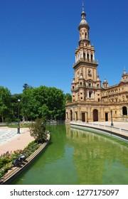 Tower in Plaza de Espana, Sevilla (Seville) Spain near Maria Luisa Park.