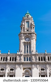 Tower of Porto City Hall with blue sky