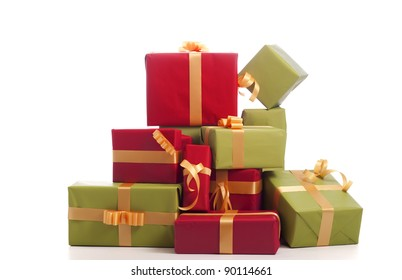 tower of presents. On white background