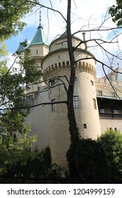 Tower of romantic Bojnice castle in Bojnice, Slovakia