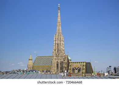 The tower of Saint Stephan`s Cathedral in Vienna, Austria