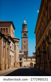The tower of San Giovanni Evangelista. It is a church (Duomo) in Parma,  in Emilia-Romagna (northern Italy), part of a complex also including a Benedictine convent, a tower and grocery. Street view.