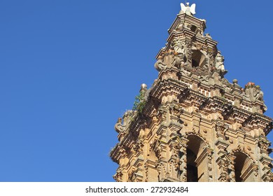 Tower of San Miguel church at Jerez de los Caballeros, Badajoz, Spain. Mudejar style
