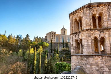 Tower of San Pere de Galligants with the Girona Cathedral in the background in Girona, Spain
