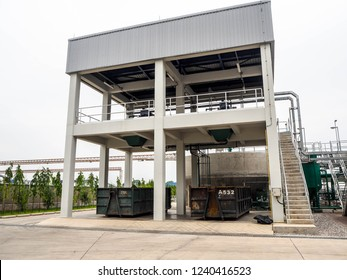 Tower for sludge treatment in power plant.