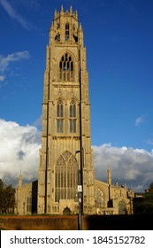 The tower of St. Botolph's church known as 'Boston Stump' on a sunny autumn's afternoon. Boston Lincolnshire. UK Oct 2020