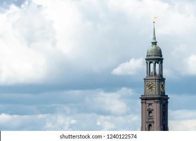 Tower of St. Michaelis church in Hamburg, Germany