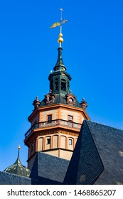 the tower of The St. Nicholas Church. It is one of the major churches of central Leipzig, Germany. it rose to national fame in 1989 with the Monday Demonstrations