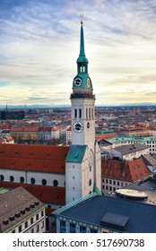 Tower of St. Peter's Church, Munich, Bavaria, Germany.