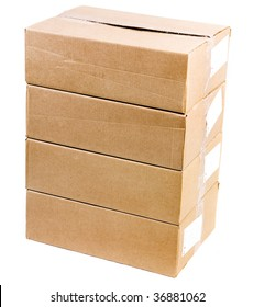 tower stack of cardboard boxes isolated over a white background