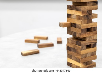 The tower stack from wooden blocks toy