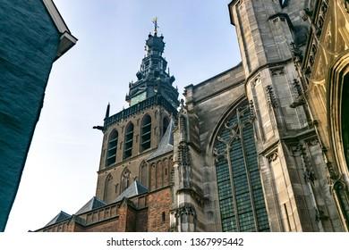 The tower of the Stevenskerk church in Nijmegen, Holland