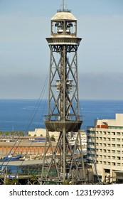 The tower Torre Sant Sebastia of the harbor cable car. The funicular that leads to Montjuic in Barcelona. From here you have a fantastic overview to the City
