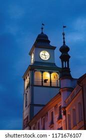 tower in trebon at night , czech republic