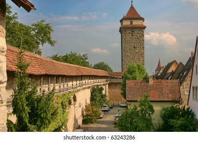 The tower and the vallum in town Rothenburg ob der Taube,  Germany