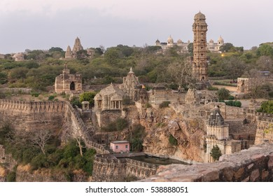 Tower of Victory, temples & palaces in the Chittorgarh fort in Rajasthan. The fort the largest in India & Asia. It is listed on the UNESCO World Heritage Sites list as Hill Forts of Rajasthan. India.
